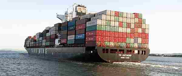 A Container Ship, Loaded by ILWU Workers at the Port of Oakland Bound for Sea